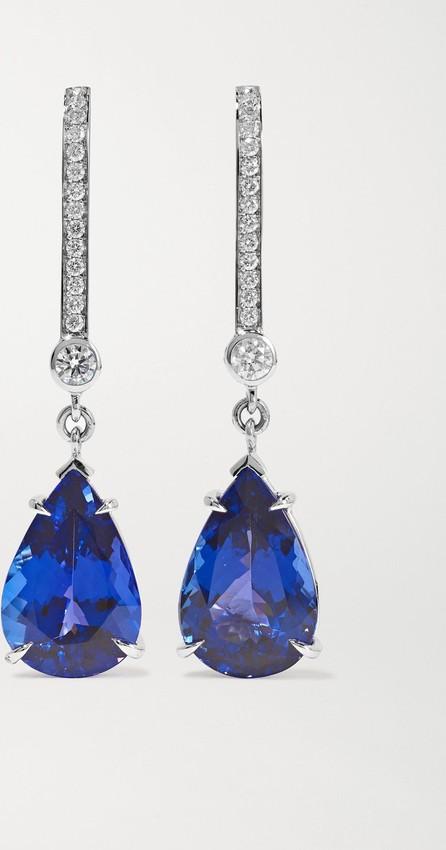 Ara Vartanian 18-karat white gold, tanzanite and diamond earrings