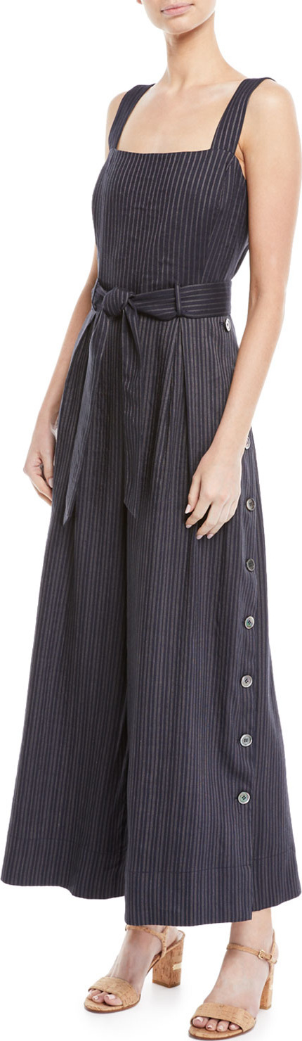 Rebecca Taylor Striped Sleeveless Belted Jumpsuit w/ Side Buttons
