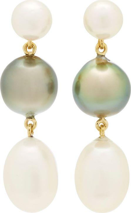 Brigid Blanco 18K Yellow Gold Triple Pearl Earrings