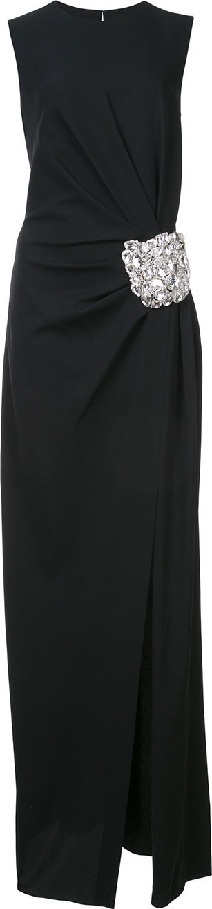 Oscar De La Renta Brooch embellished column gown