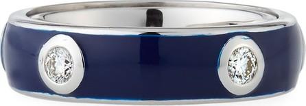 Adolfo Courrier Blue Enamel Band Ring with White Diamonds, Size 7