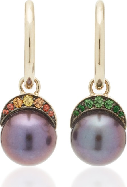 Noor Fares Rainbow Navratna Mala 18K Gold, Pearl and Multi-Stone Earrings