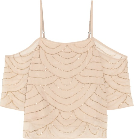 W118 by Walter Baker Roxy cold-shoulder bead-embellished georgette top