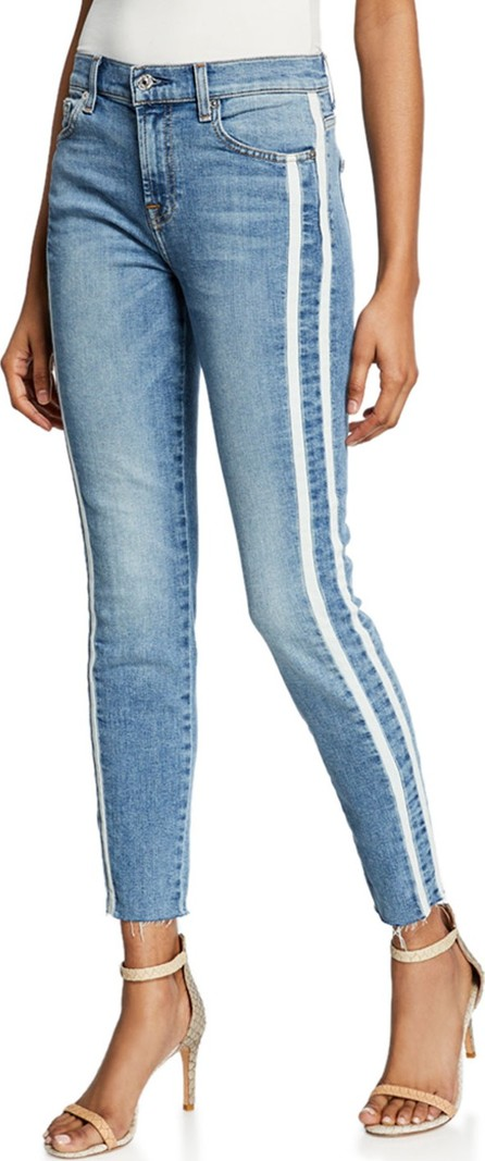 7 For All Mankind Ankle Skinny Cutoff Jeans w/ Side Stripes