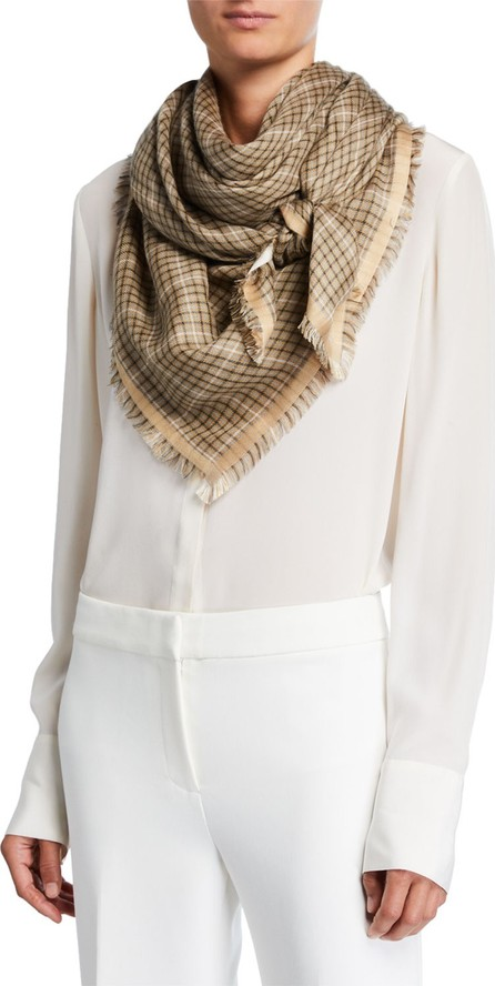 Loro Piana Hollins Check Fringe Scarf