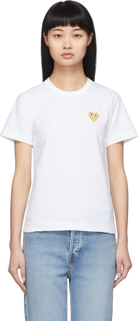 Comme Des Garcons PLAY White Gold Heart T-Shirt