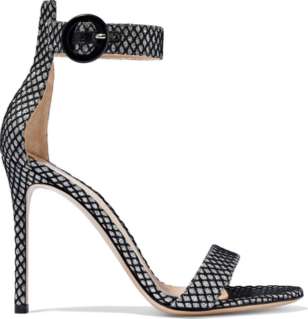 Gianvito Rossi Portofino 105 glittered snake-effect leather sandals