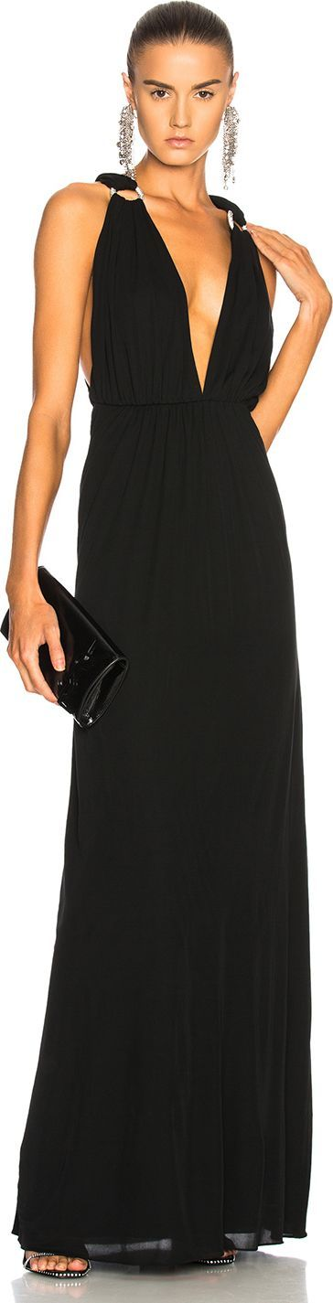 Saint Laurent Jersey Mousseline Maxi Dress
