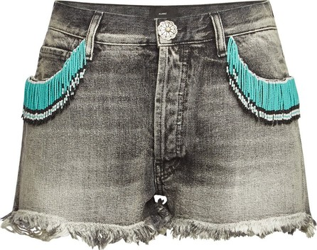 Alanui Distressed Denim Shorts with Beads