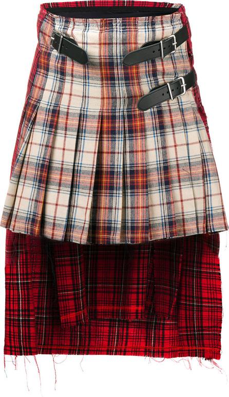 R13 Asymmetric tartan skirt
