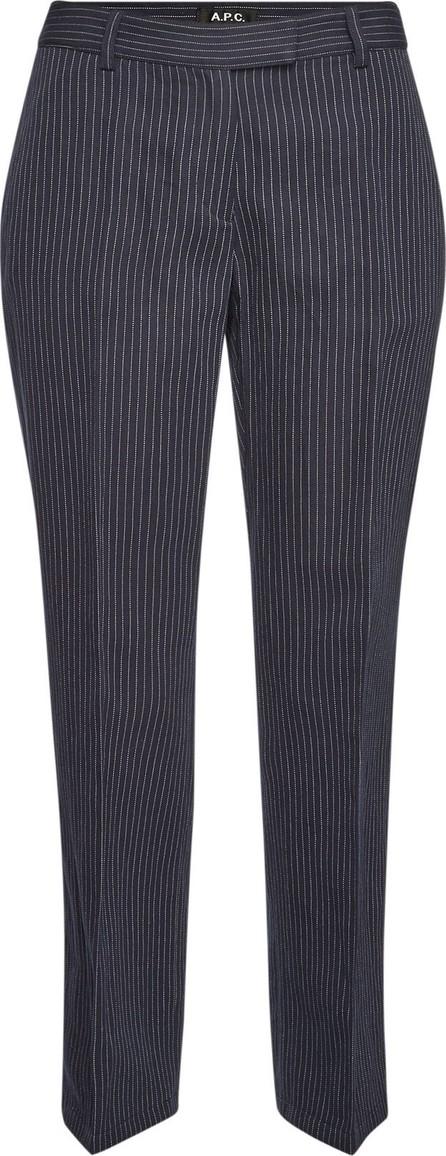 A.P.C. Cotton-Linen Cece Cropped Pinstripe Pants