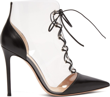 Gianvito Rossi Icon 105 PVC and leather lace-up boots