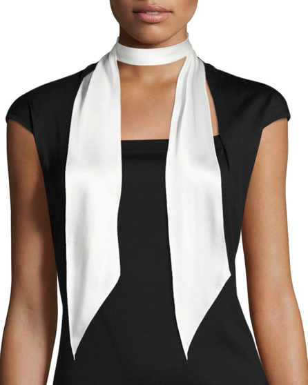 Rockins Super Skinny Satin Scarf, Ivory