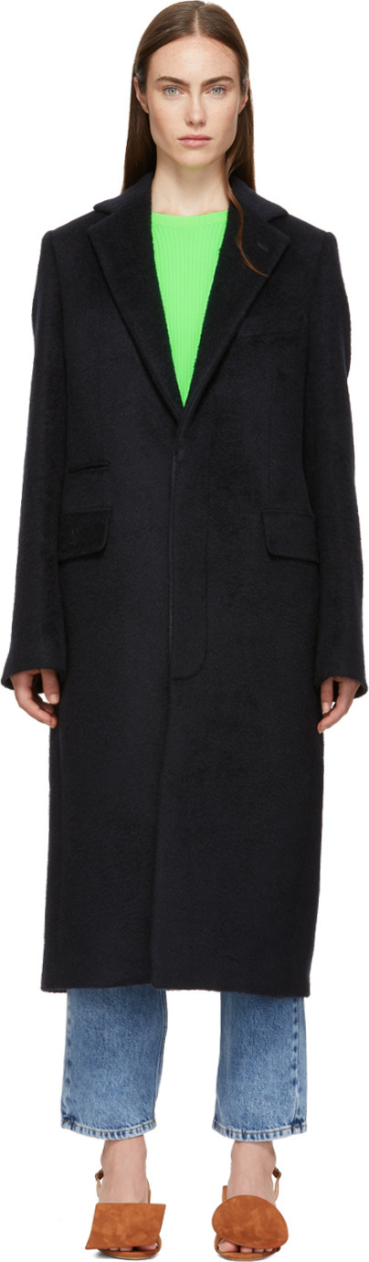 Acne Studios Navy Mohair Single-Breasted Coat