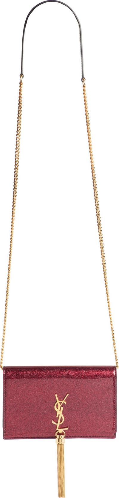 Saint Laurent Kate Glitter Wallet on a Chain