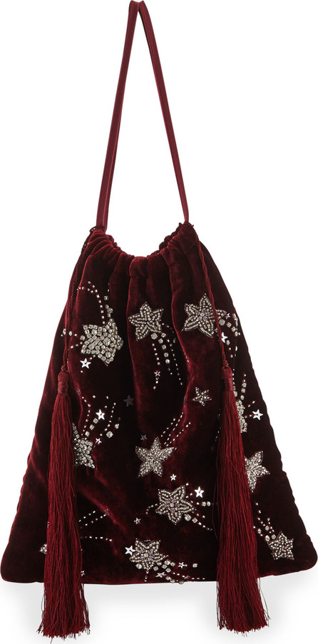 Attico Velvet Stars and Moon Pouch Bag, Red