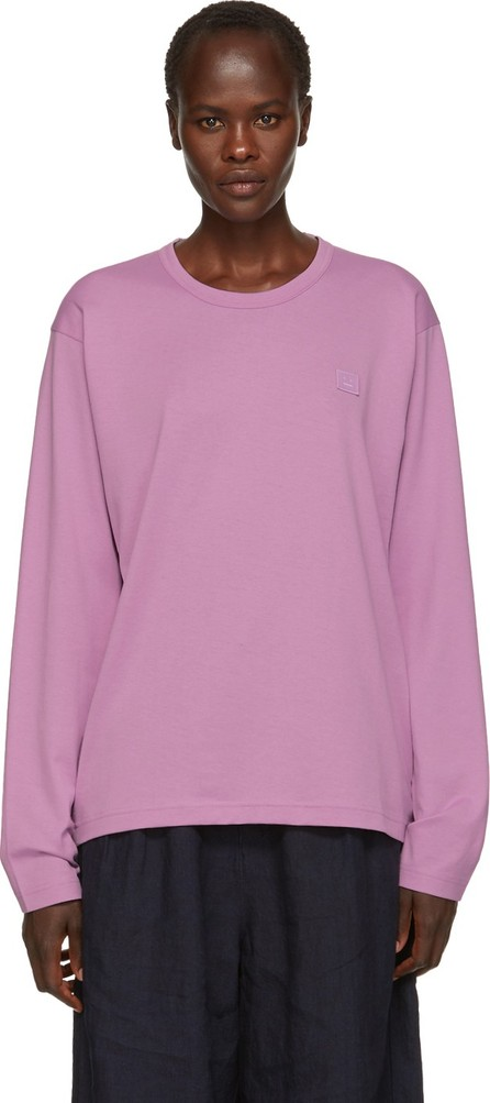 Acne Studios Purple Long Sleeve Nash Face T-Shirt