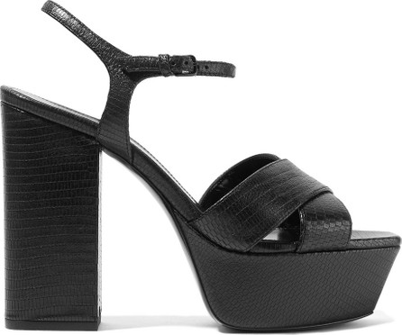 Saint Laurent Farrah lizard-effect leather platform sandals