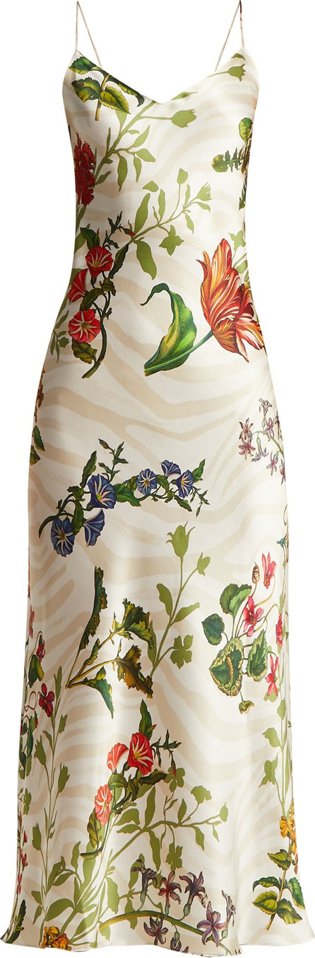Adriana Iglesias Jadi floral-print silk-blend slip dress