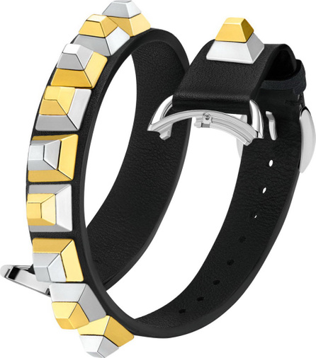 Fendi 17mm Dolce Stud Black Leather Watch Strap