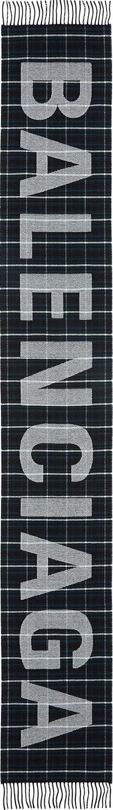 Balenciaga Logo jacquard tartan plaid scarf