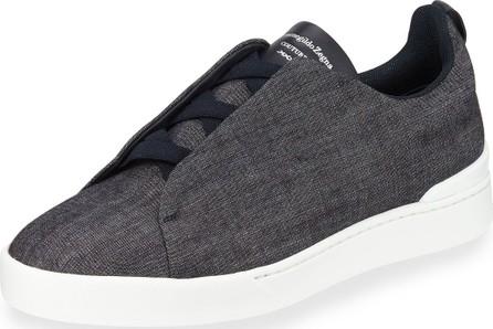 Ermenegildo Zegna Men's Triple-Stitch Denim Low-Top Sneakers