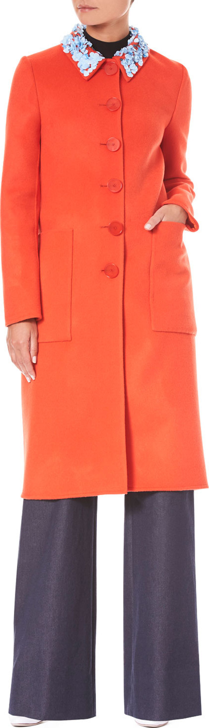 Carolina Herrera Button-Front Embroidered-Collar Wool-Cashmere Coat