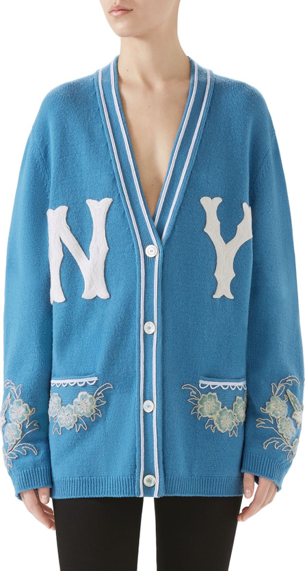 Gucci NY Embroidered Wool Cardigan