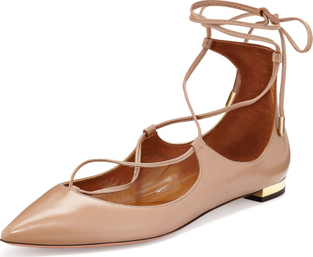 Aquazzura Christy Lace-Up Leather Flat, Biscotto