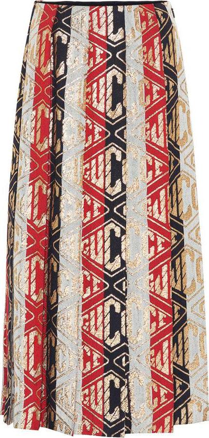 Gucci Striped wool-blend midi dress