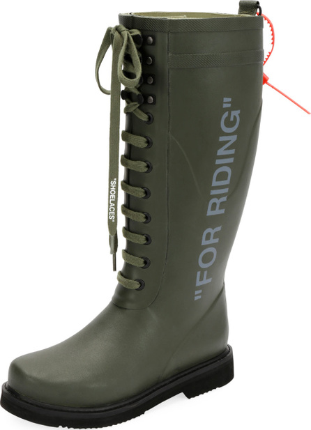 Off White For Riding Quote Wellington Rain Boot
