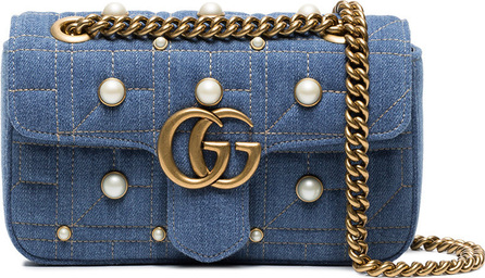 Gucci Mini Marmont denim pearl shoulder bag