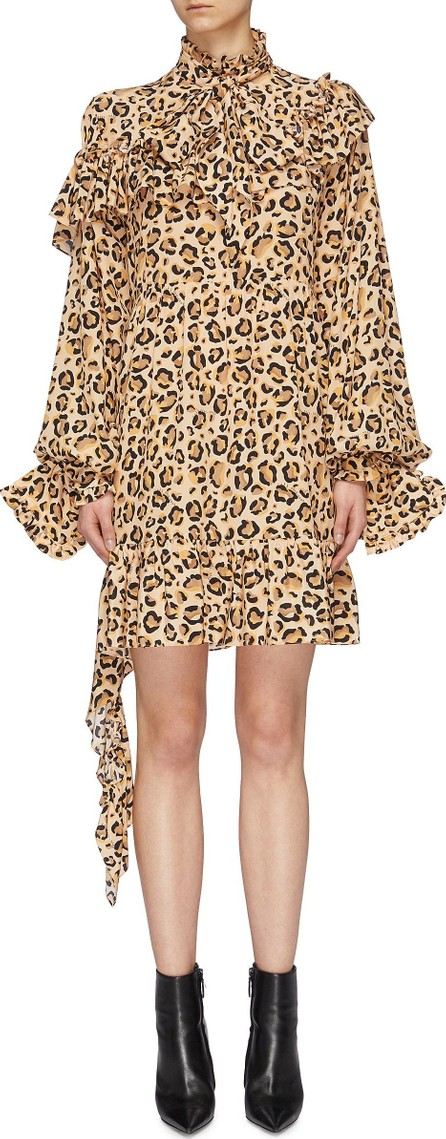 Rokh Detachable cuff ruffle drape leopard print silk dress