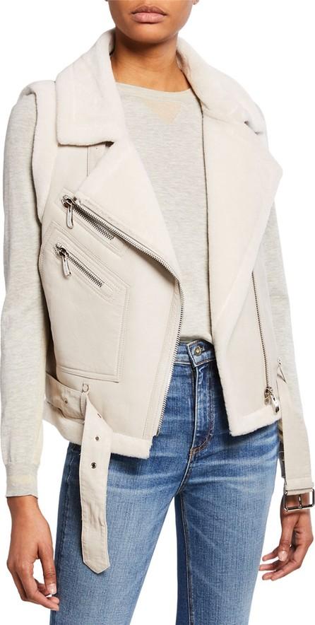 Belle Fare Leather Moto Vest w/ Fur Lining