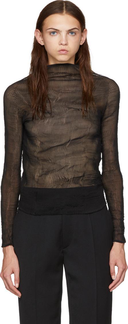 Issey Miyake Black Chiffon Twist Long Sleeve Pleated Blouse