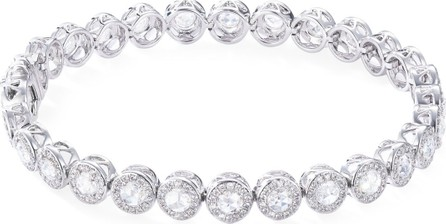 64 Facets Rose-Cut Diamond Tennis Bracelet in 18K White Gold
