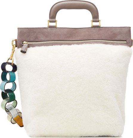Anya Hindmarch Orsett Leather and Shearling Tote