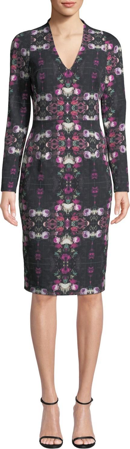 Black Halo Mindy Long-Sleeve Printed Sheath Dress