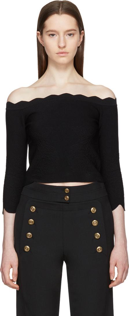 Alexander McQueen Black Scalloped Off-the-Shoulder Sweater