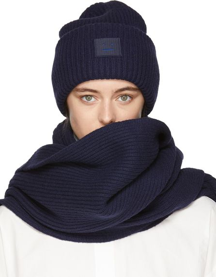 Acne Studios Navy Pansy L Face Beanie