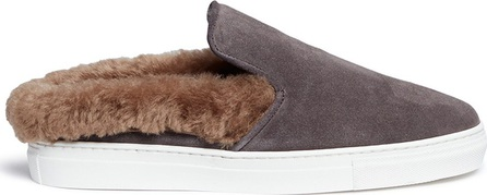 Fabio Rusconi 'Softy Antracite' fur shearling suede skate slides