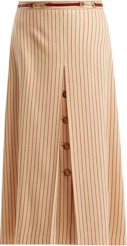 Gucci Inverted-pleat pinstripe wool midi skirt