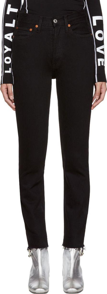 RE/DONE Black Originals Stretch High-Rise Ankle Crop Jeans