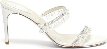 Rene Caovilla Double strap chandelier strass embellished satin heel sandals