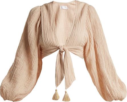 Zimmermann Bayou tie-front  crinkled ramie-blend top
