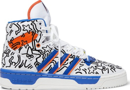 Adidas Originals + Keith Haring Rivalry Embroidered Leather High-Top Sneakers