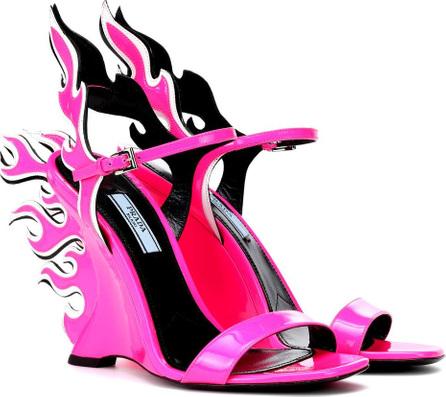 Prada 100 Flame wedge sandals