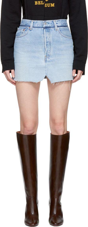 Vetements Blue Denim Jeans Miniskirt