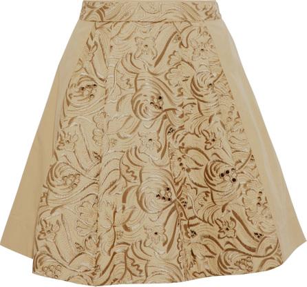 Roberto Cavalli Metallic embroidered cotton mini skirt