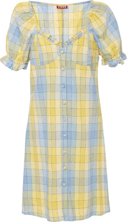 Staud Sur Plaid Cotton Mini Dress